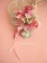 ピンクフラワーと小花のシルクコサージュ